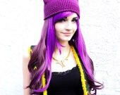 Deep Orchid Purple Kitty Ear Beanie - Crocheted Cat Ear Hat