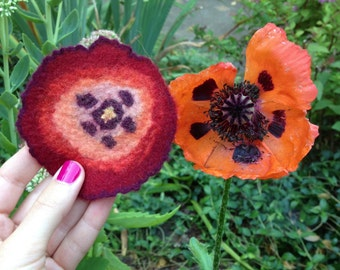Felted Poppy Pin