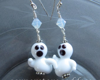 Lampwork Singing Ghost Halloween Earrings EHAG by Cornerstoregoddess