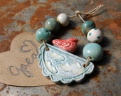 Dreaming of Sky / Springy Ceramic Sky and Bird Pendant and Bead Set
