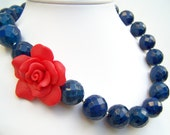 Nautical Necklace, Asymmetric Blue Statement Necklace with Red Flower, Chunky Stone Beaded Necklace with Rose - Sailorgirl