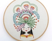 FLOWER GIRL - pdf embroidery pattern, feather and flowers, girl with flower headdress, embroidery hoop art, stitch design, cozyblue on etsy