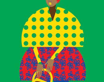 Basket Girl Print, Retro Black Fashion and Ukiyo-e inspired Illustration 5x7 8x10 11x14
