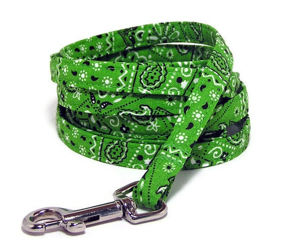 """XS Leash - Lime Green Bandana - 3/8"""" wide - 4 or 6 Feet long for Cats and Small Dogs"""