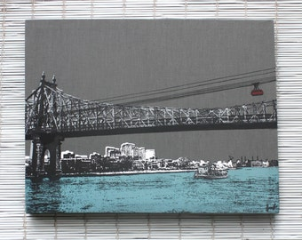 NYC Skyline - 59th Street Bridge Wall Hanging on Stretched Linen