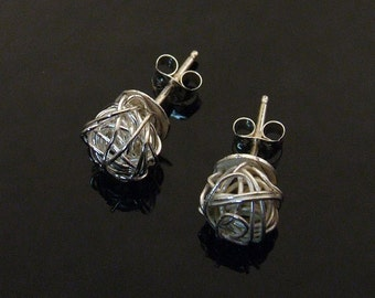 SILVER Yarn ball Tumbleweed Post Earrings - Petite Studs Handmade from Sterling and Fine Silver Wire
