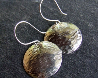 SILVER BARK Sterling Silver Dangly Disc Earrings - Round Hammer Texture Finish - Fine Metal Rustic Artisan Woodland Jewelry