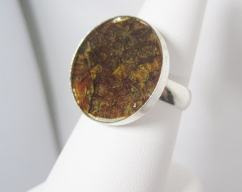 Mustard Yellow Fish Leather and Sterling Silver Geometric Christian Ring - Circle Size 8 - HOOKED on JESUS Collection