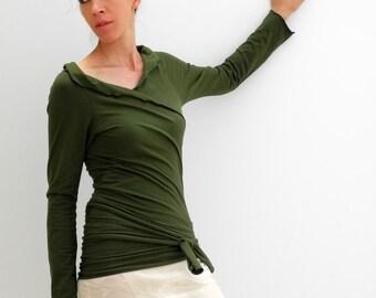 wrap green cardigan, moss green shrug, jersey wrap top, long sleeves