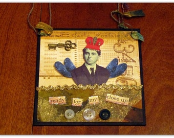 Mixed Media Collage - Whimsical Vintage Man -  4x4 Inches