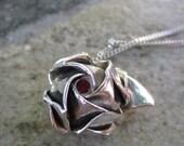 Fine Silver Hand Folded Origami Rose Pendant