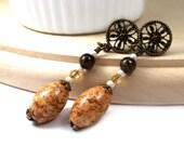 Caramel Breve, Post Earrings, Brass Earrings, Plus Size Jewelry