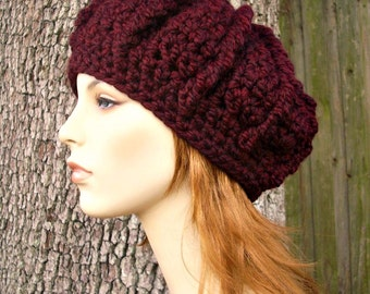Crochet Hat Womens Hat - Monarch Ribbed Beret in Oxblood Wine Red Crochet Hat - Red Hat Red Beret Red Beanie Merlot Hat Womens Accessories