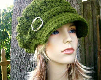 Crochet Hat Green Womens Hat Green Newsboy Hat - Oversized Monarch Ribbed Crochet Newsboy Hat Olive Green Crochet Hat - Womens Accessories