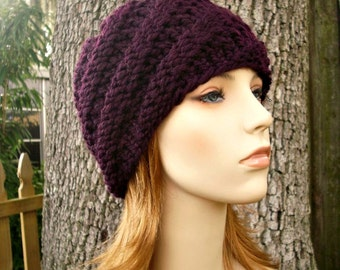 Knit Hat Purple Womens Hat - Swirl Beanie in Eggplant Purple Knit Hat - Purple Hat Purple Beanie Womens Accessories Winter Hat