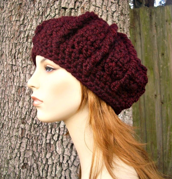 Crochet Ribbed Hat : Hat Womens Hat - Monarch Ribbed Beret in Oxblood Wine Red Crochet Hat ...