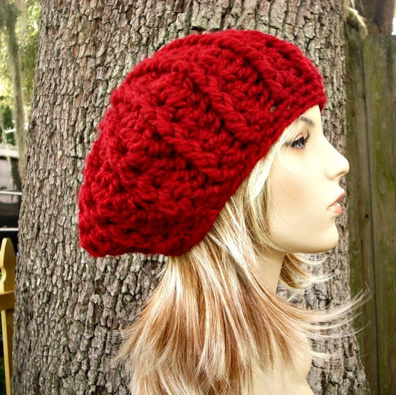 Nautilus Beret Knitting Pattern : Red Womens Hat Oversized Nautilus Ribbed Beret Cranberry Red
