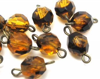 Vintage Glass Tortoise Shell Glass Connector Beads (12X) (B533)