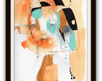 """Portrait Print, Large Giclee Print of an Original Watercolor Painting, Modern Wall Art  with Geometric Shapes """"Human"""""""