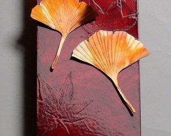 Copper Ginko Leaf nature metal wall art 4x8