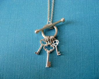 Sterling Silver Toggle Necklace.  Key Charm Pendant.