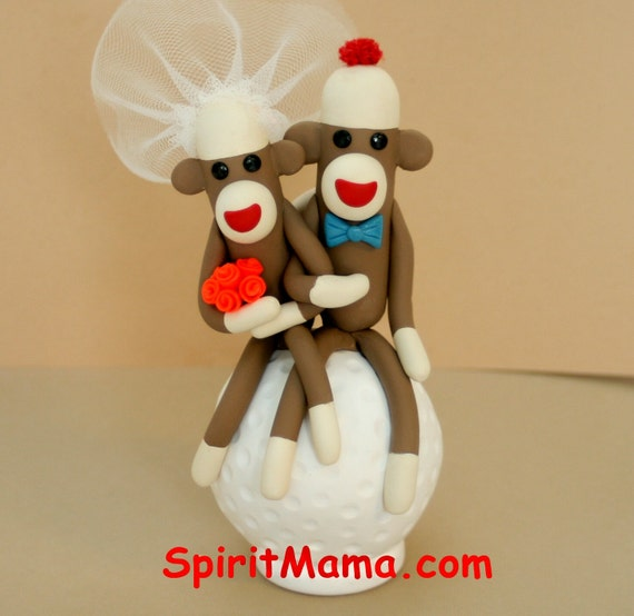 wedding cake toppers golf theme items similar to sock monkey golf theme wedding cake 26482