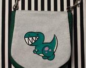 Pouch Spare Pocket Embroidery Cute Dinosaur Tyrannosaurus Rex