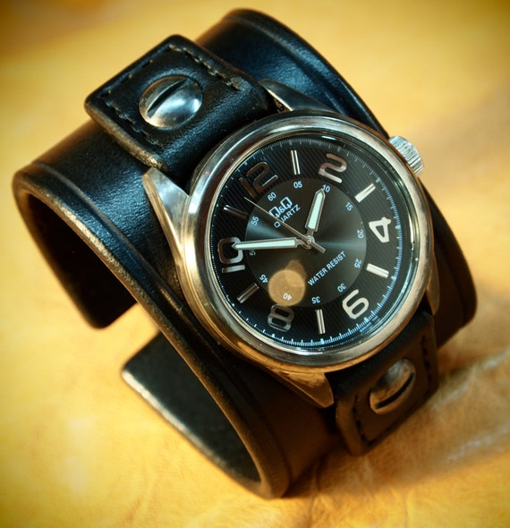 Leather cuff Watch Vintage Black bridle leather watchband, wrist watch made for YOU in NYC by Freddie Matara