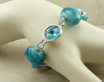 Shiny Turquoise Bling - Lampwork Bead Bracelet - Swarovski Crystals Teal Aqua Blue Green - I ship Internationally