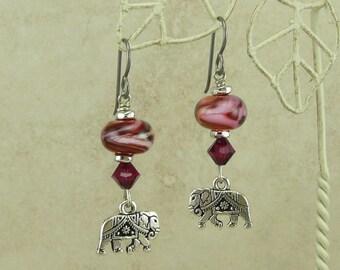 Ganesha Elephant Lampwork Bead Earrings > India Indian Ruby Jewel Sacred Spiritual - Swarovski Crystals & Hypoallergenic Niobium Ear Wires