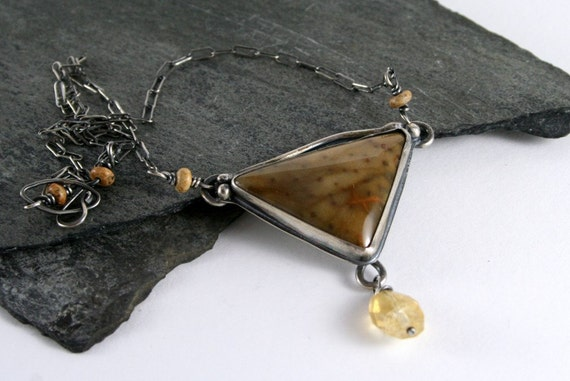Petrified Palmwood Stone, Citrine & Sterling Silver Necklace