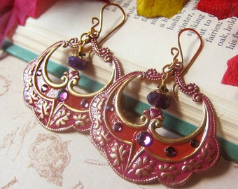 Confectionary Earrings in Cinnamon and Plum