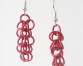 Short Red Shaggy Loops Chainmaille Earrings Handmade