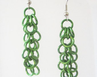 Medium Green Shaggy Loops Chainmaille Earrings Handmade