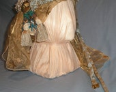 Renaissance Fair, tribal, belly dancer, gypsy headdress costume, SCA gold and teal, one-of-a-kind, Halloween