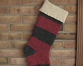 Traditional Red And Green Vintage Victorian Style Crocheted Glittery Striped Christmas Stocking