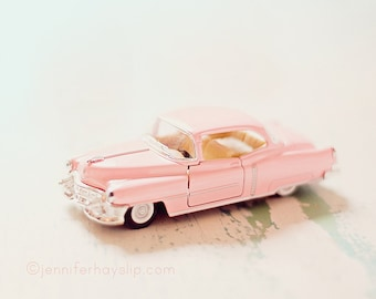 Retro Daydreams Pink Car photography vintage pastel home decor 8X8 wall art print