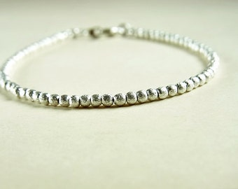 The Perfect Silver Bead Bracelet // Brushed Round Beads // 2.25mm