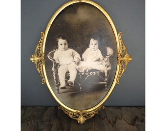 Vintage Photo Portrait of Children Framed - Oval - Convex Glass - Hand Tinted