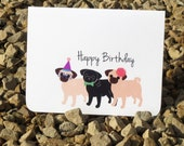 Pug Birthday Card - Dog Lover - Birthday Card - Folded