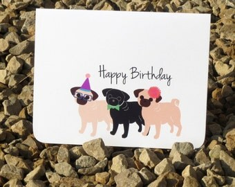 pug birthday card  etsy, Birthday card