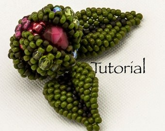 Beaded Bead Tutorial  Rosebud Digital Download (includes leaves)