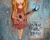 Country Music Art, Inspirational Tween Girls Wall Art, Music Art,Guitar Art, Music decor- 8 x10 and 5x7