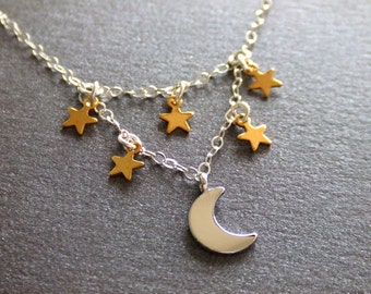 Moon and the Stars Jewelry Necklace - Gold Star Charms - Silver Crescent Charm - Constellations  - Gift for Her - Shooting Stars - Night Sky