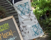 Dragonfly Apron - Organic Fabric Natural Robins Egg Blue Espresso Brown - Hand printed and Hand Made