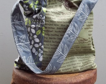 Sage Green Grey Bird Bag  - Two Pockets - - Screen Printed