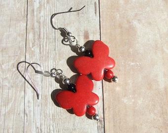 Red Howlite Gemstone Butterfly Earrings