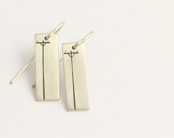 Drop Earrings in Sterling Silver with Power Poles