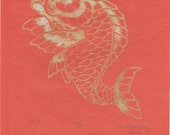 Koi Linocut - Lino Block Print Koi Fish or Carp Print on Lovely Orange Japanese Paper