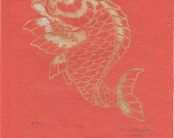 Koi Linocut - Lino Block Print Koi Fish or Carp Print on Lovely Orange Japanese Paper